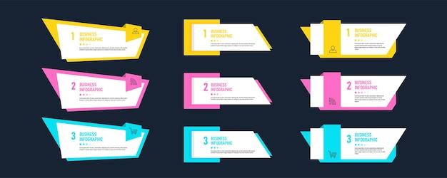 Impostare il modello di elemento infografica Vettore Premium