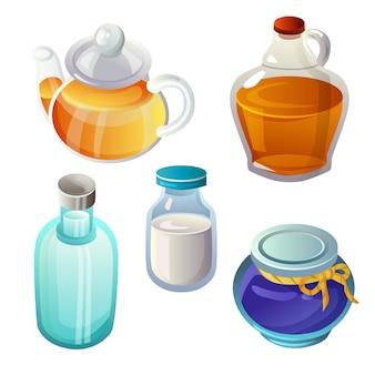 Set di ingredienti e cibo in vetro trasparente