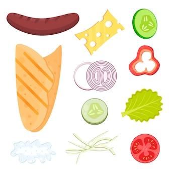 Set di ingredienti per un hot dog ricetta fast food pane pita salsiccia formaggio salsa verdure
