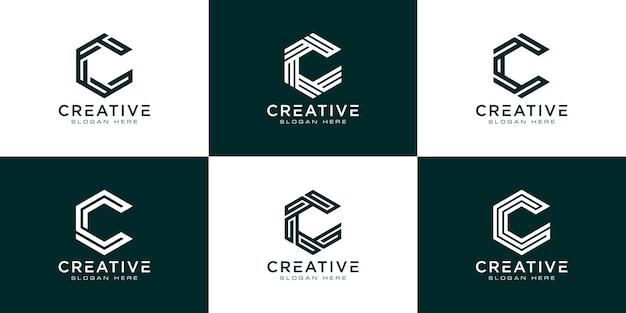 Set di modello di logo astratto esagono lettera iniziale c