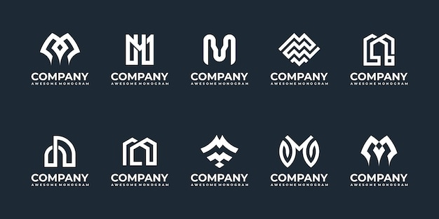 Set di modelli di progettazione di logo monogramma lettera iniziale m.