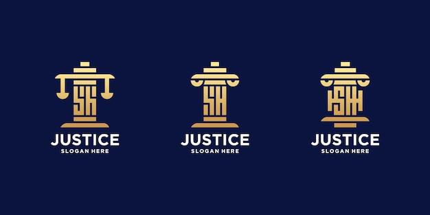 Set di lettere iniziali sh logo dello studio legale
