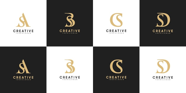 Set di lettere iniziali del logo sa - sd, riferimento per il tuo logo di lusso