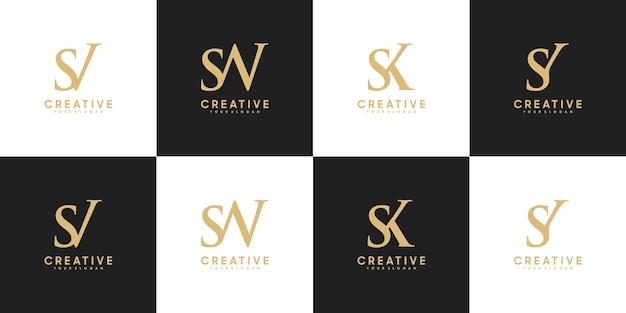 Set di lettere iniziali del logo sv - sy, riferimento per il tuo logo di lusso