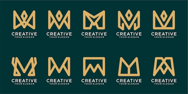 Set di modelli di logo della lettera m iniziale con linee semplici vettore premium