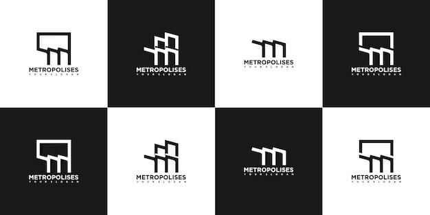 Set di logo iniziale m, m per città, alloggi d'élite, città moderna, metropoli e altro