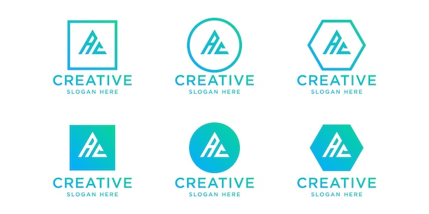 Set di iniziali ac logo design template