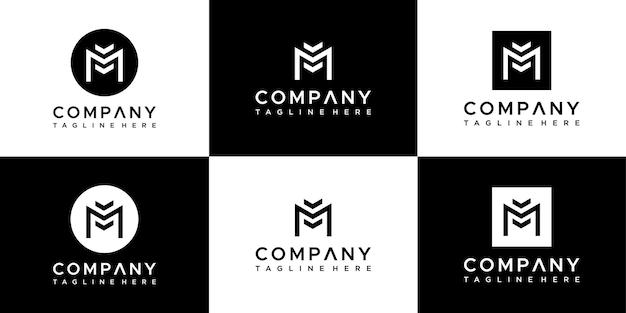 Set di modello di progettazione di logo di lettera m di iniziali