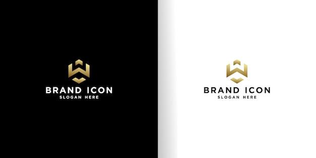 Set di iniziali w modello di progettazione logo esagonale