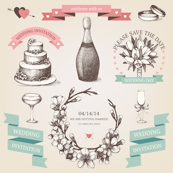 Set di inchiostro disegnato a mano illustrazione di san valentino. collezione di san valentino vintage con ramoscelli fioriti disegnati a mano dell'albero da frutto