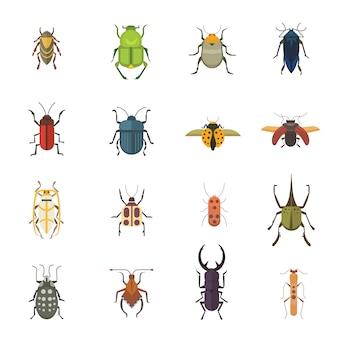 Insieme delle icone di disegno di vettore di stile piano di insetti. scarabeo della natura della raccolta ed illustrazione del fumetto di zoologia. concetto di fauna selvatica icona bug