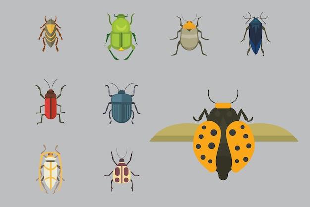 Set di icone del design vettoriale di insetti in stile piano. collezione natura scarabeo e zoologia fumetto illustrazione.