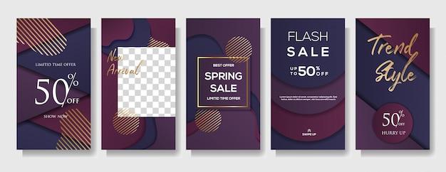 Set di modello di banner di vendita di storie di instagram