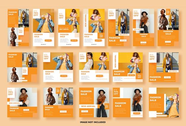Imposta storie di instagram, modelli di post sui social media per le vendite di moda