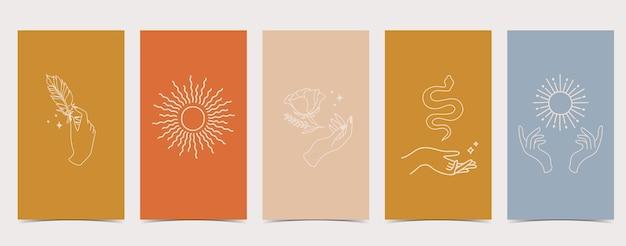 Set di storie di instagram con diversi disegni: serpente