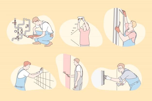 Set di installatori, riparazione, concetto di costruttore