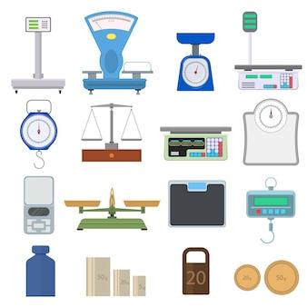 Set di strumenti per pesare. scale in stile piatto. dispositivo per la misurazione del peso. isolato su sfondo bianco. illustrazione vettoriale.