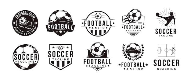 Set di intage badge emblema logo calcio calcio sport squadra club league con icona di concetto di attrezzatura calcio calcio