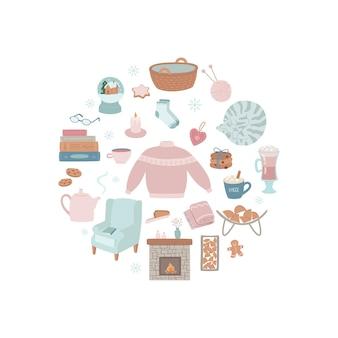Set di oggetti interni isolati su bianco illustrazione vettoriale disegnato a mano in uno stile carino