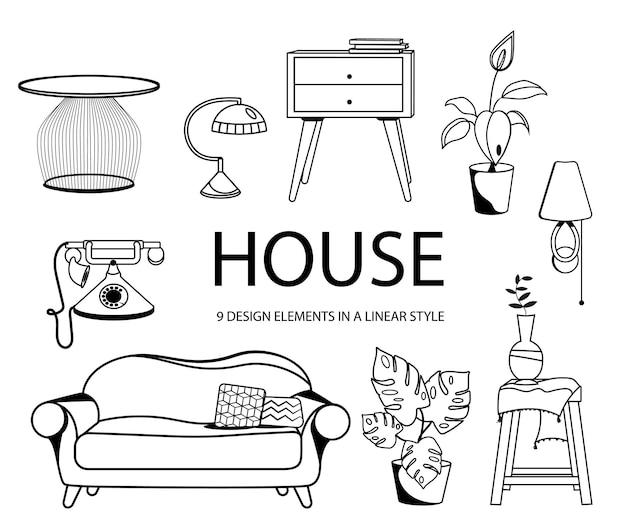 Un insieme di oggetti interni in uno stile lineare. mobili vari e piante da interno.