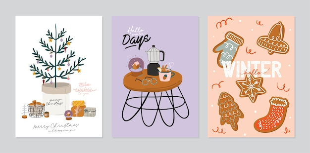 Set di carte di invito - interni scandinavi con decorazioni per la casa. accogliente stagione delle vacanze invernali. illustrazione carina e tipografia natalizia in stile hygge