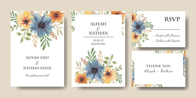 Set di biglietti d'invito con bouquet floreale ad acquerello