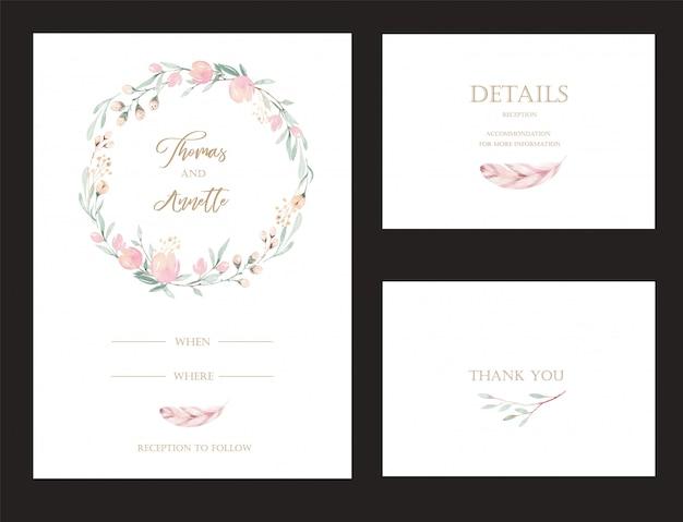 Set di biglietti d'invito con protea di fiori ad acquerello ed elementi in oro. Vettore Premium