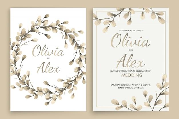 Set di biglietti d'invito con elementi di foglie di acquerello e lettere calligrafiche.