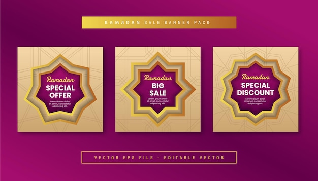 Set di banner geometrico islamico con tema di vendita ramadan per instagram, facebook, caroselli.