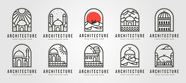 Set di logo linea moschea islamica