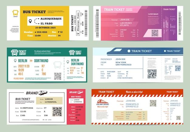 Set di biglietti di autobus e treni isolati