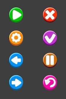 Set di pulsanti isolati per il gioco. segni o icone colorati di vettore per l'interfaccia.