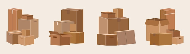 Set di scatole di cartone isolate per lo spostamento.