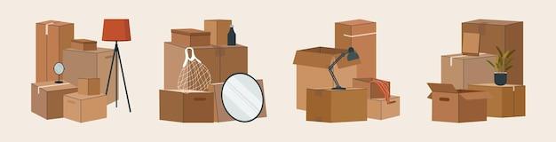 Set di scatole di cartone isolate per lo spostamento