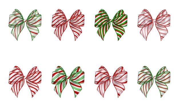 Set di fiocchi natalizi isolati con fiocco a strisce con struttura di bastoncini di zucchero per decorazioni natalizie