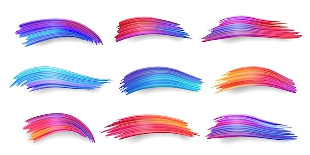 Set di pennellate colorate isolate o gradiente di colori freddi e caldi, macchie di acquerello o tampone di vernice, acrilico astratto blu e viola, daub pennello rosso.