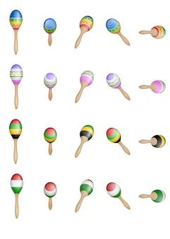 Set di maracas messicani colorati isolati