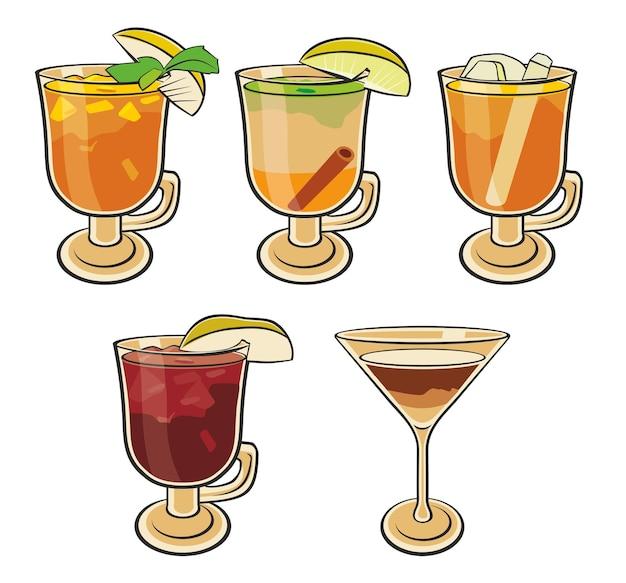Set di cocktail schizzo colorato isolato.