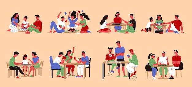 Set di composizioni isolate in stile doodle con personaggi di membri della famiglia che giocano