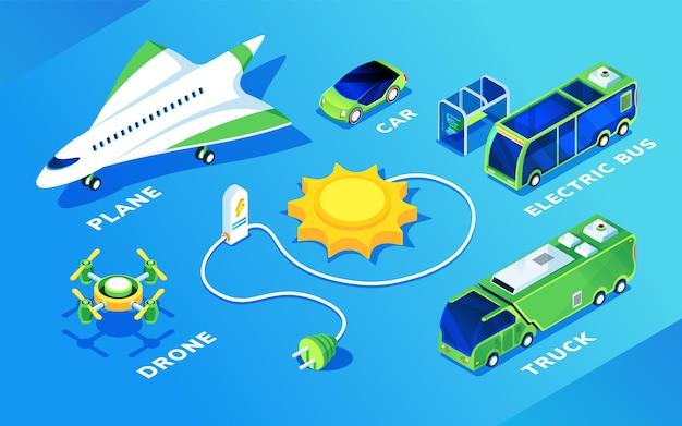 Set di veicoli elettrici isolati per il trasporto ecologico