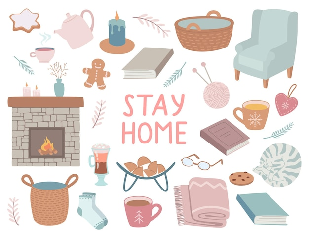 Insieme di elementi isolati casa accogliente, stare a casa. il concetto di intimità e comfort, illustrazione disegnata a mano in uno stile carino.