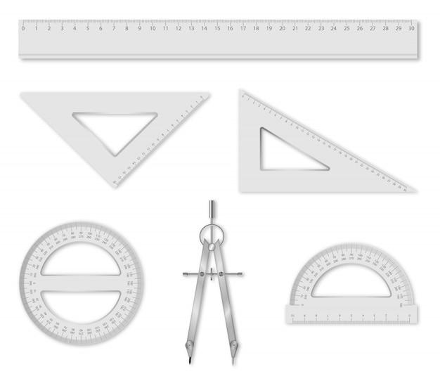 Insieme di elementi geometrici isolati: righello, quadrati, goniometri e bussola. accessori per la scuola