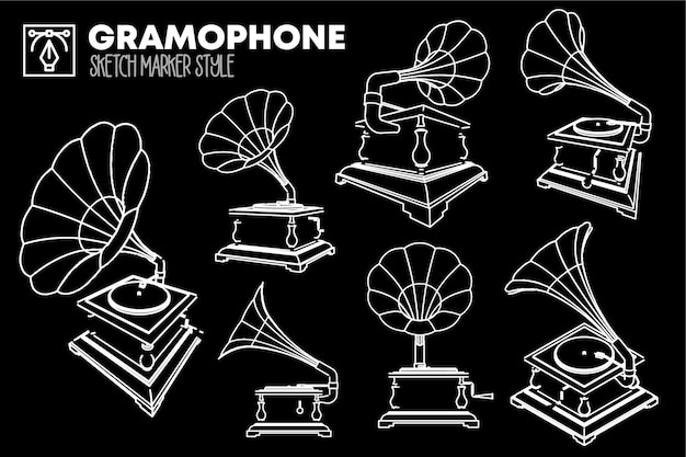 Set di viste grammofono isolato. disegni effetto marker.