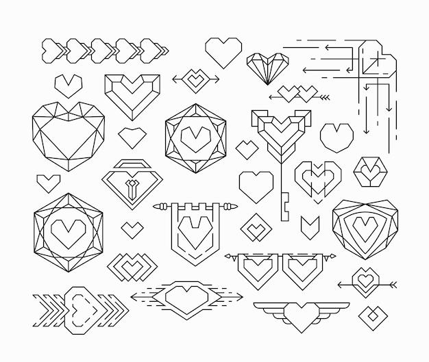 Set di cuori isolati ed elementi di design di linea sottile, emblemi romantici con cuori.