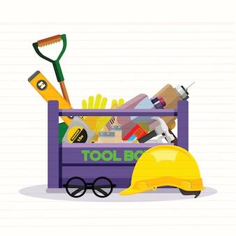 Imposti le icone isolate messe la riparazione degli strumenti della costruzione stile piano del gancio. cassetta degli attrezzi illustrazione vettoriale