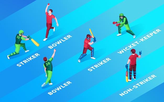 Set di uomo isolato a cricket schierando posizioni nome bombetta e attaccante wicketkeeper