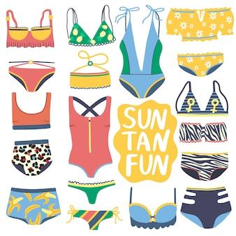 Set di costumi interi isolati e due pezzi. collezione bikini colorati disegnati a mano. costumi da bagno alla moda con top bikini e mutandine inferiori su sfondo bianco.