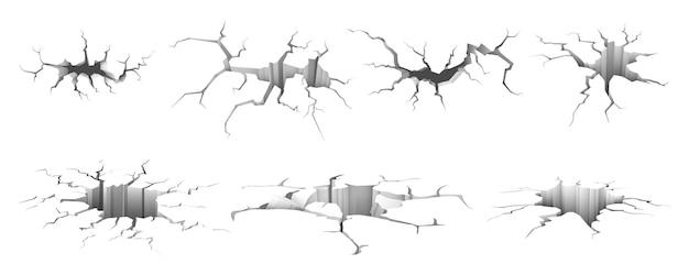 Set di crepe di terra realistiche isolate o buchi di terremoto terra rotta od incidente di cemento