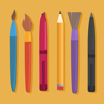 Set di materiale scolastico isolato