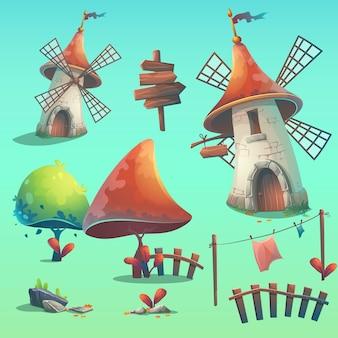 Set di elementi vettoriali isolati - mulino a vento, siepe, recinzione, palizzata, albero, fiore, rocce